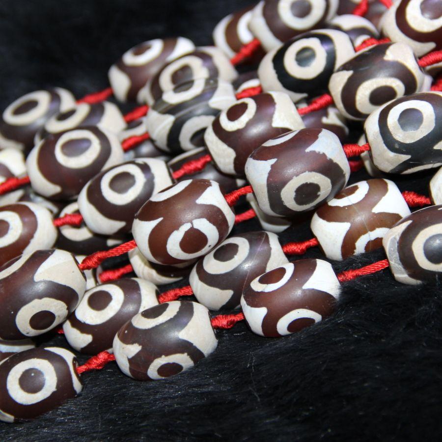 Doğal Kırmızı Beyaz Gözler Boncuk, Tibet Dzi Akik Boncuk, Varil Boncuk Taş Kuvars Druzy Akik Kolye Kolye Takı Yapma Konektörü