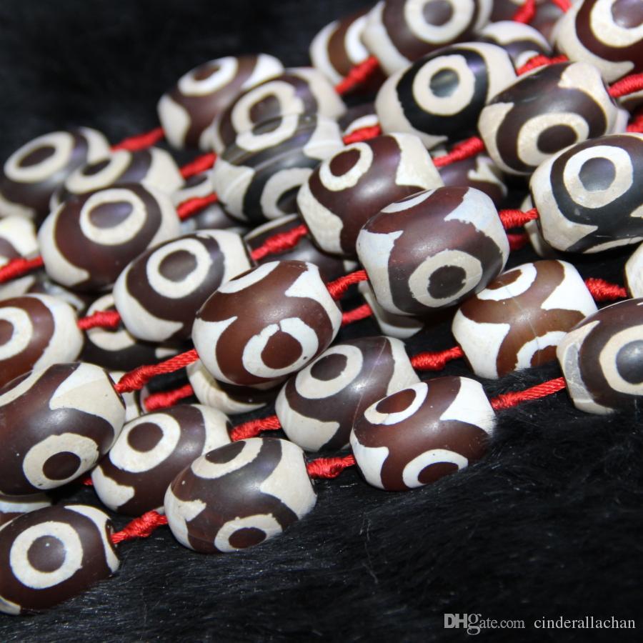 Natürliche rote weiße Augen Perlen, Tibet Dzi Achat Perlen, Barrel Perlen Edelstein Quarz Druzy Achat Halskette Anhänger Schmuck machen Stecker