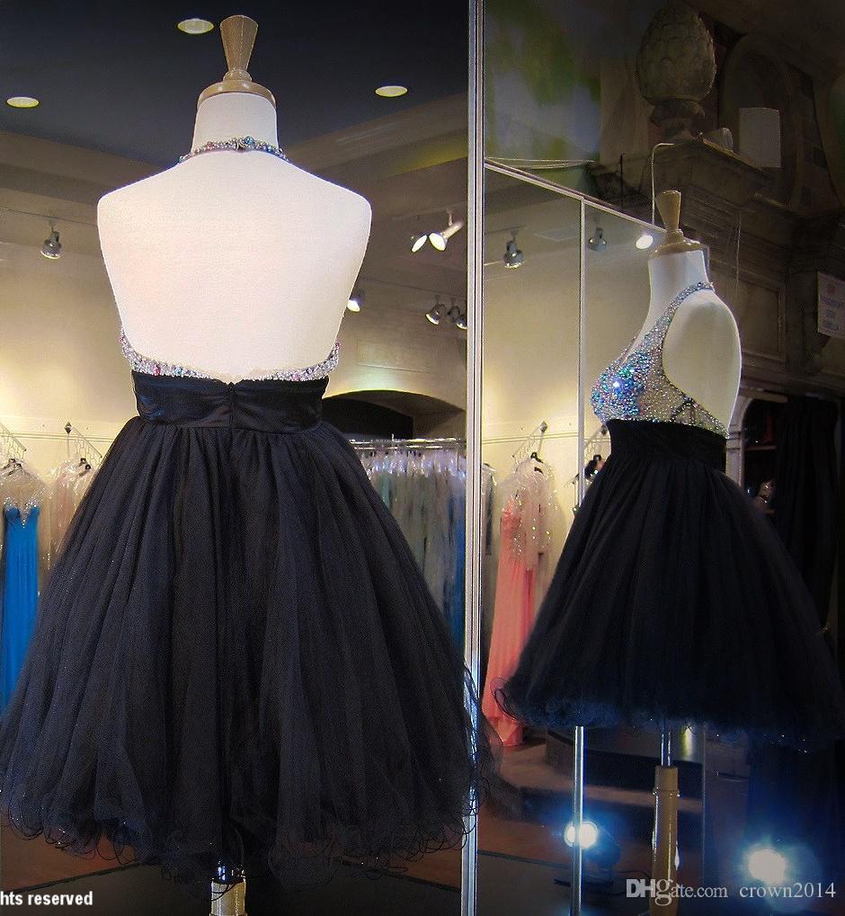 검은 구슬 달린 베이비 톨 짧은 홈 커밍 드레스 딥 브이 넥 오픈 백 얇은 명주 그물 A 라인 다채로운 구슬 미니 댄스 졸업 칵테일 드레스