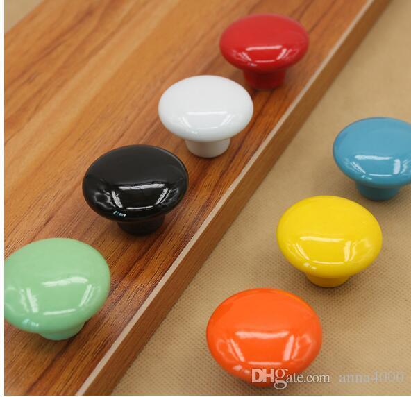 Cabinet, wardrobe drawer, shoe handle, seven color ceramic handle, modern European style cabinet drawer, ceramic handle The diameter is abo