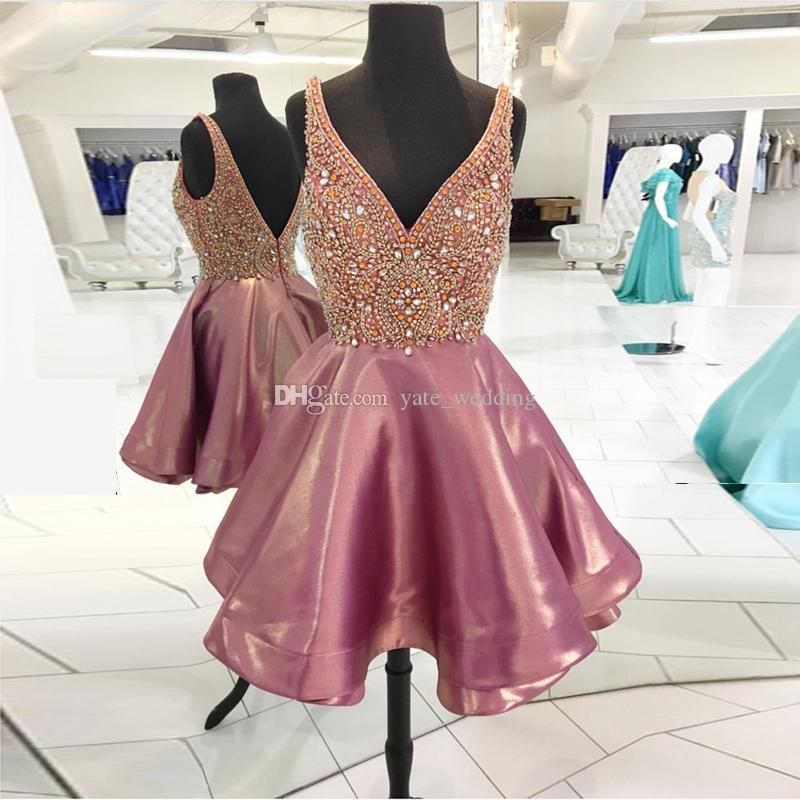 Luxury Rose Pink Crystal Homecoming Dresses V Neck Sleeveless Satin ...