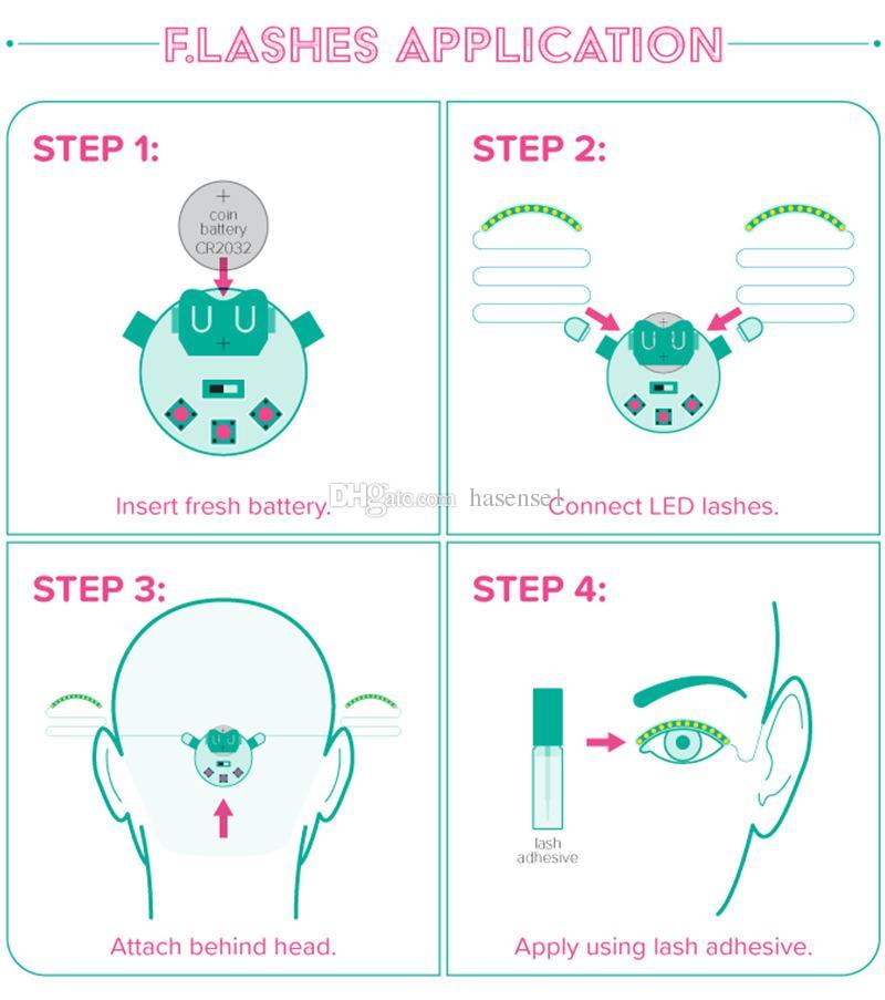 Sound-control Dazzl LED Eyelashes Light Unisex Flashes Interactive Changing LED False Lashes Shining Eyeliner Perfect for Party