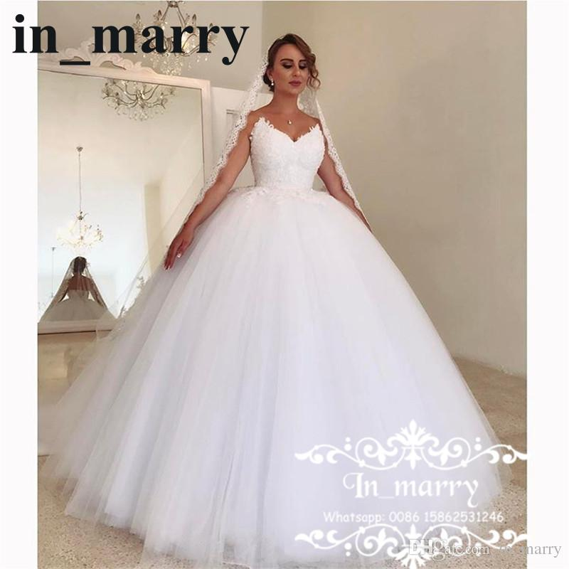 Romantic White Lace Ball Gown Wedding Dresses 2018 Corset Puffy ...