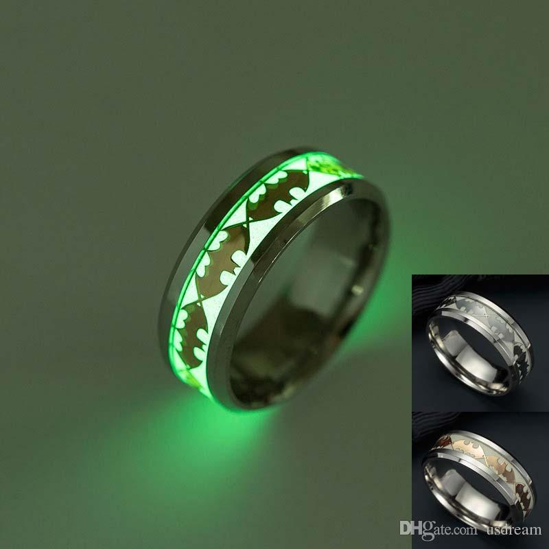 Batman Ring Stainless Steel Fluorescent Glowing Light Finger Rings