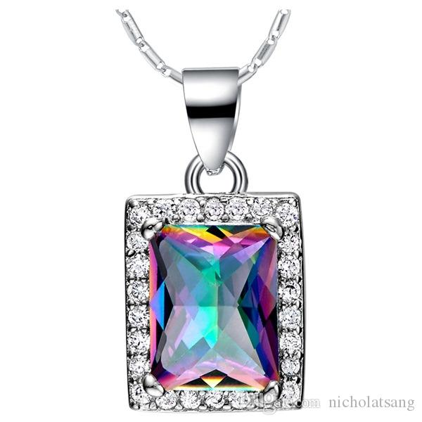 3ct Natural Mystic Fire Rainbow Topaz Engagement Wedding Jewelry Set Women Genuine 925 Sterling Silver 2016 New Fine Jewelry Hot