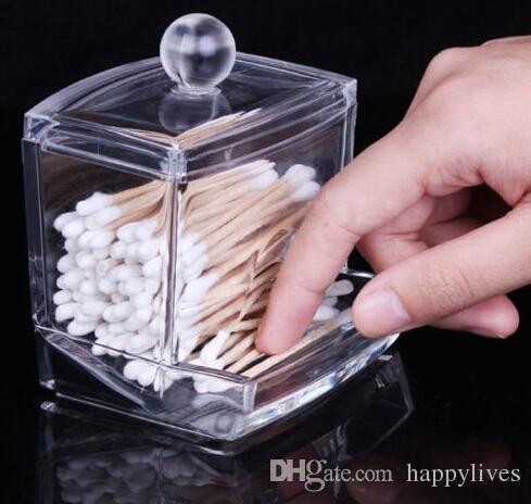 Women Makeup tool Storage Box Clear Acrylic Cotton Swab Q-tip Storage Holder Box Cosmetic Makeup Organizer US