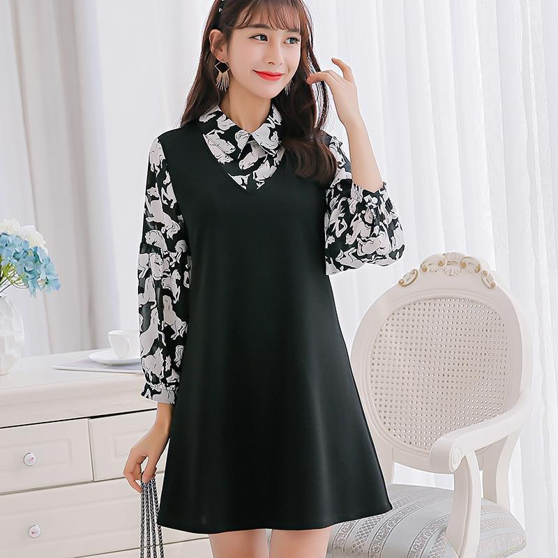 0c7e1f9b9ac 2017 Cute Plus Size Dresses Women Summer Print Turn Down Collar Spring  Party A Line Mini Club Long Sleeve Work Business Sexy Dress Long Women  Dresses ...