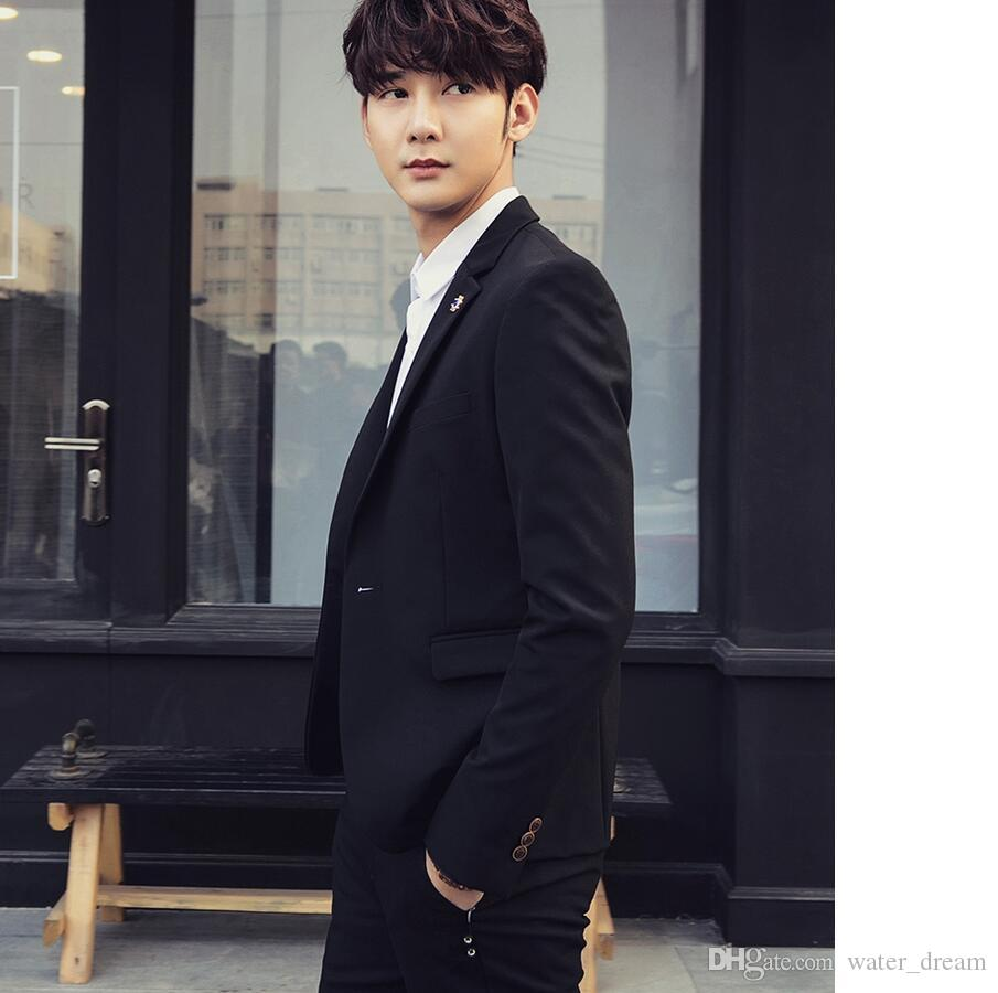 Pure black skinny wedding dress custom the groom suit Prom Dress high quality classic men suits formal occasions two-piece