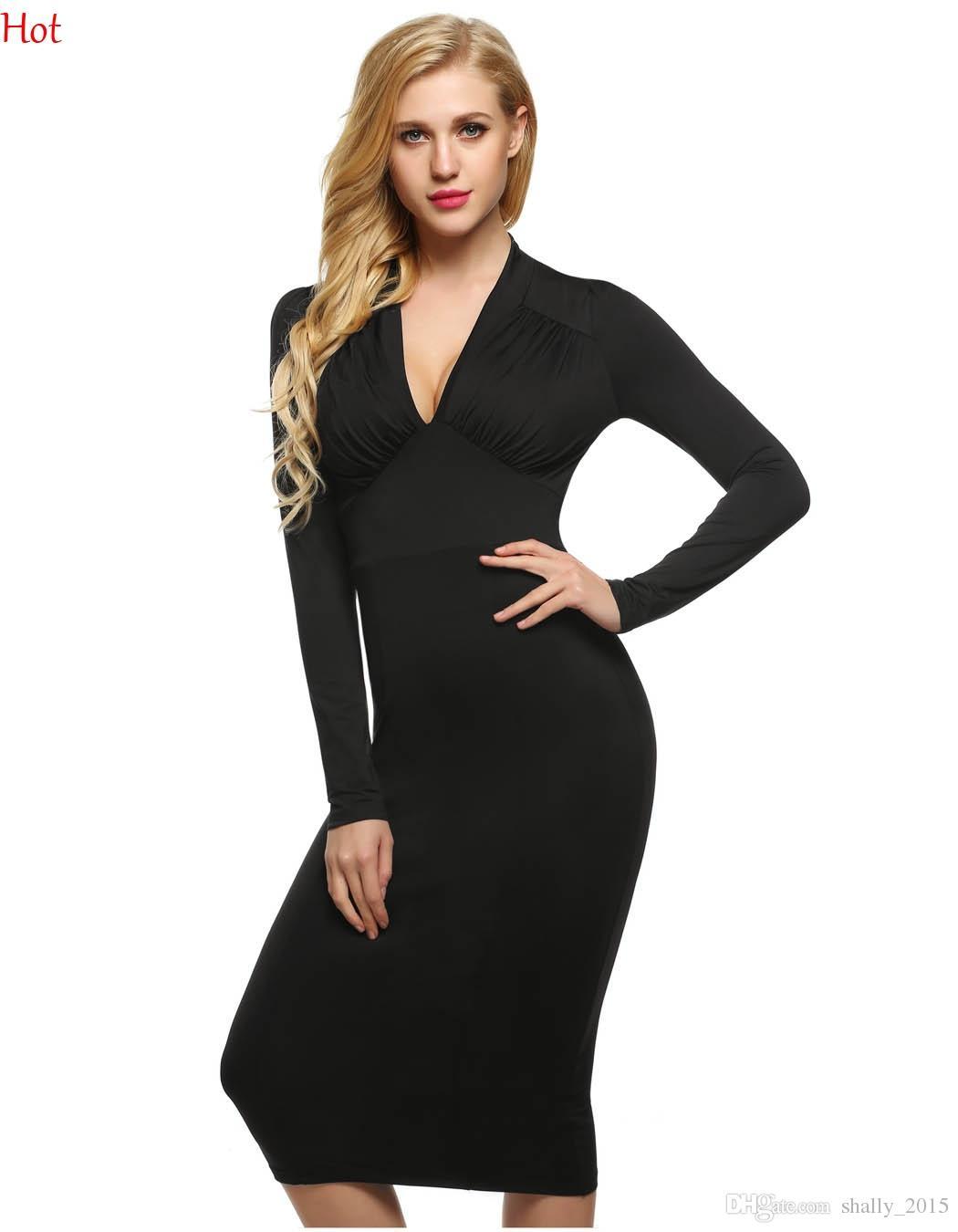 d10c011aaf43 Acquista Donne Sexy Abiti Da Donna Manica Lunga Con Scollo A V Vita Alta  Polpaccio Vestito Aderente Plus Size Abito Da Sera Partito Abito Slim Fit  YC001342 ...