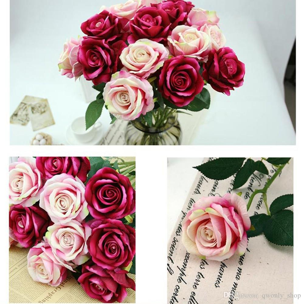 Rosa roja en franela flor artificial para la decoración de la boda flores decorativas guirnaldas exhibición flor montado en la pared