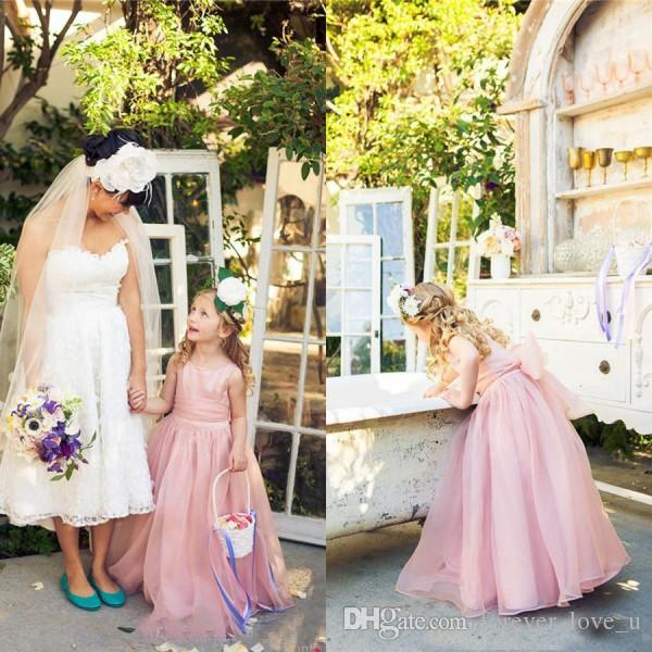 Lovely a line long flower girl dresses for weddings dusky pink lovely a line long flower girl dresses for weddings dusky pink bateau neck sleeveless kids formal wear organza gown with sash bow beautiful girls dress mightylinksfo