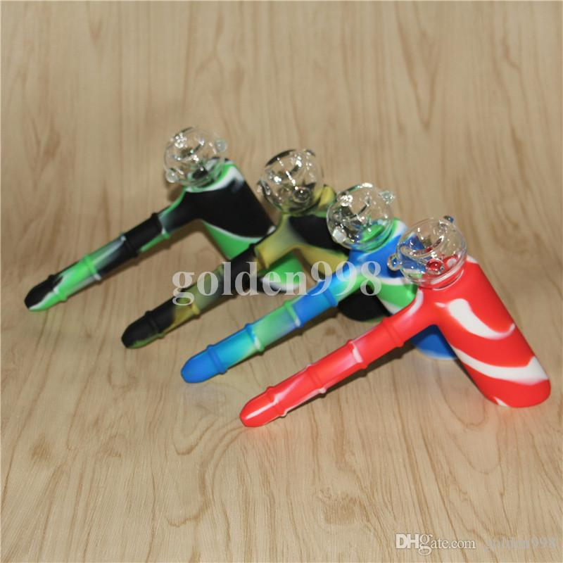 hammer 6 holes diffused downstem Silicone Bongs Water Pipes hammer bongs percolator bubbler Oil Rigs Glass Bongs pipes tobacco pipe recycler