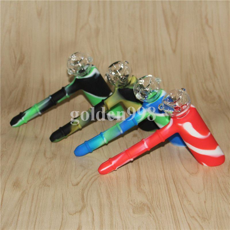 vente en gros Showerhead Bong marteau Silicone Bubblers Recycler 18.8mm Bubbler Silicone Marteau Narguilés Incassable Avec Bol En Verre DHL