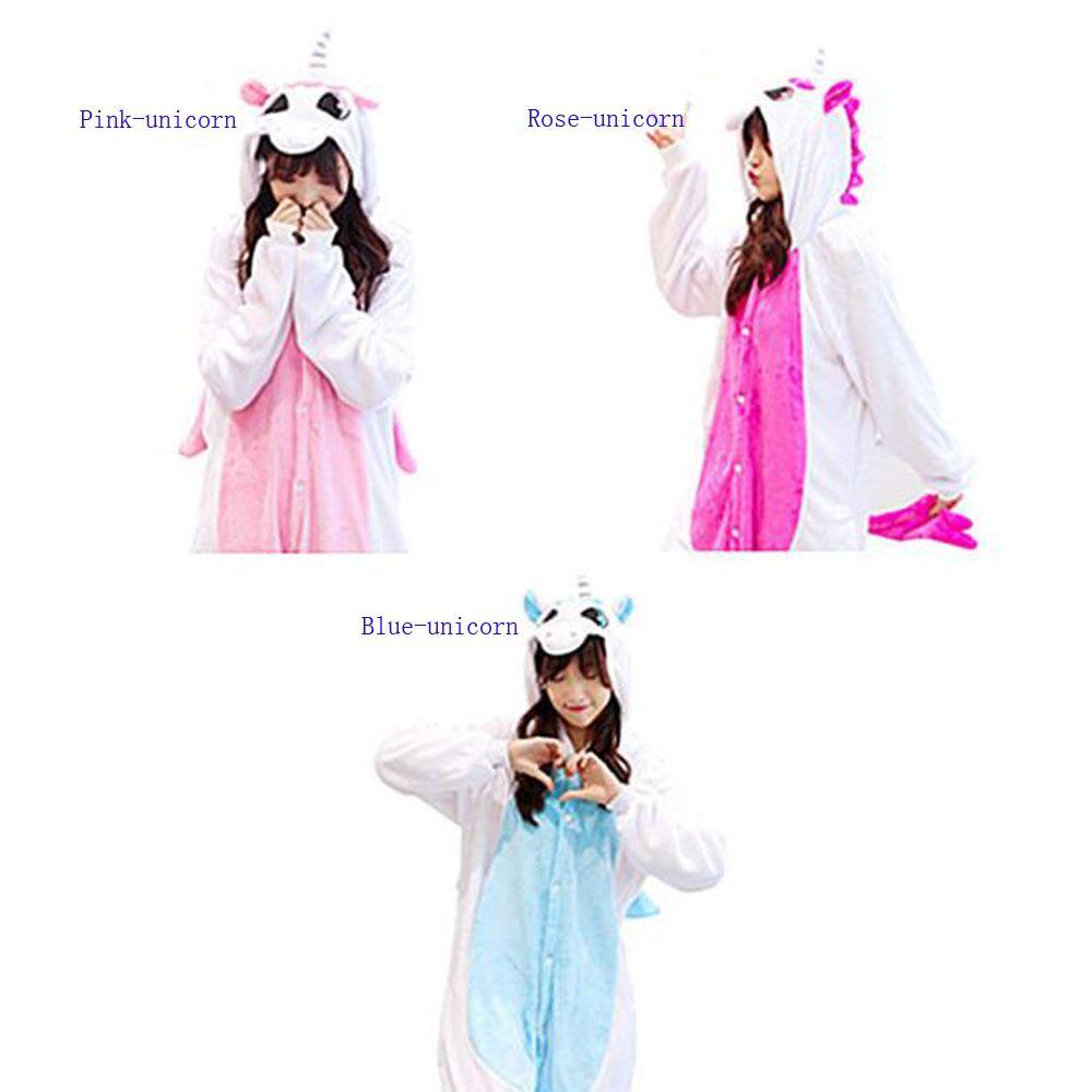 super popular 801ee ca888 Erwachsene Einhorn Tier Onesies Pyjamas Unisex Einteiler Cosplay Halloween  Kostüme Cartoon Frauen Nachtwäsche Rose Pink Blau