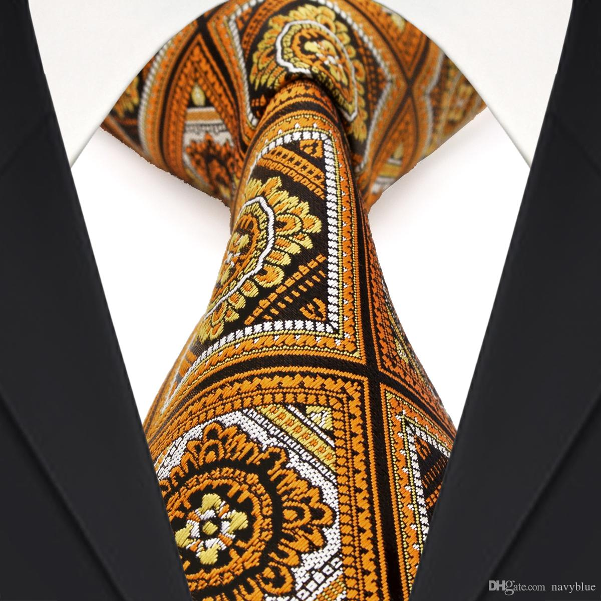 accc0374cec8 Wholesale F17 Yellow Black White Orange Checked Floral Mens Ties Neckties  100% Silk Jacquard Woven Classy Black Bow Tie High Neck Blouse From  Navyblue, ...