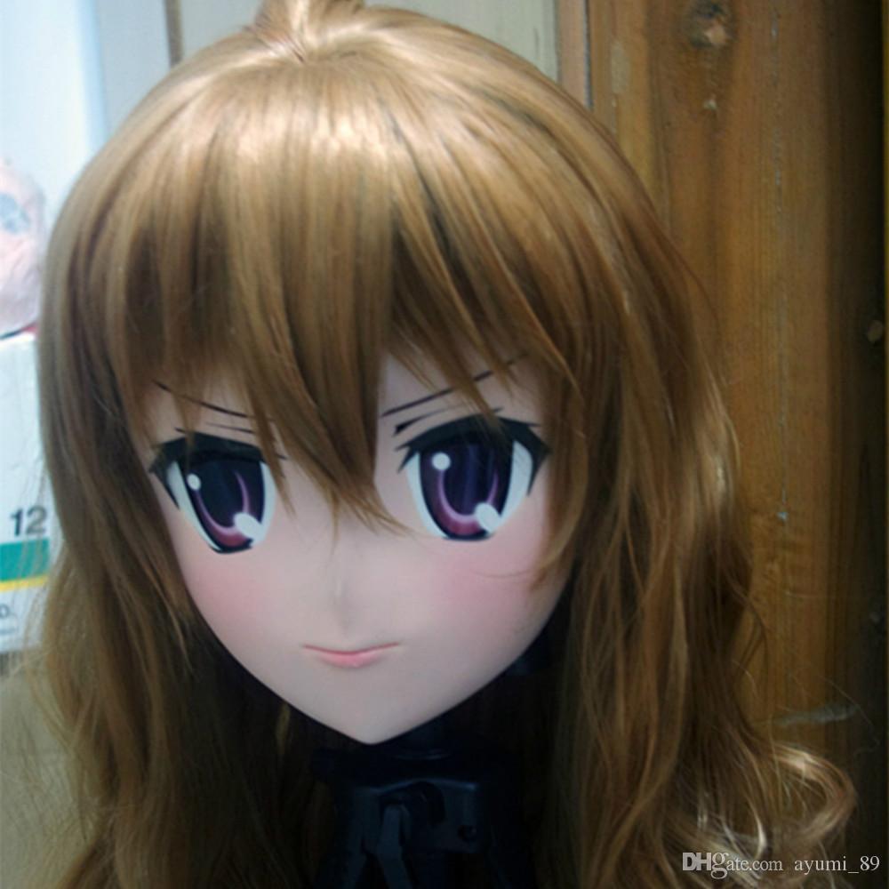 C2-038 Top Quality Handmade KIG Máscara de Borracha de Silicone Máscara Cosplay Kigurumi Crossdresser Boneca Japão Anime Role Play
