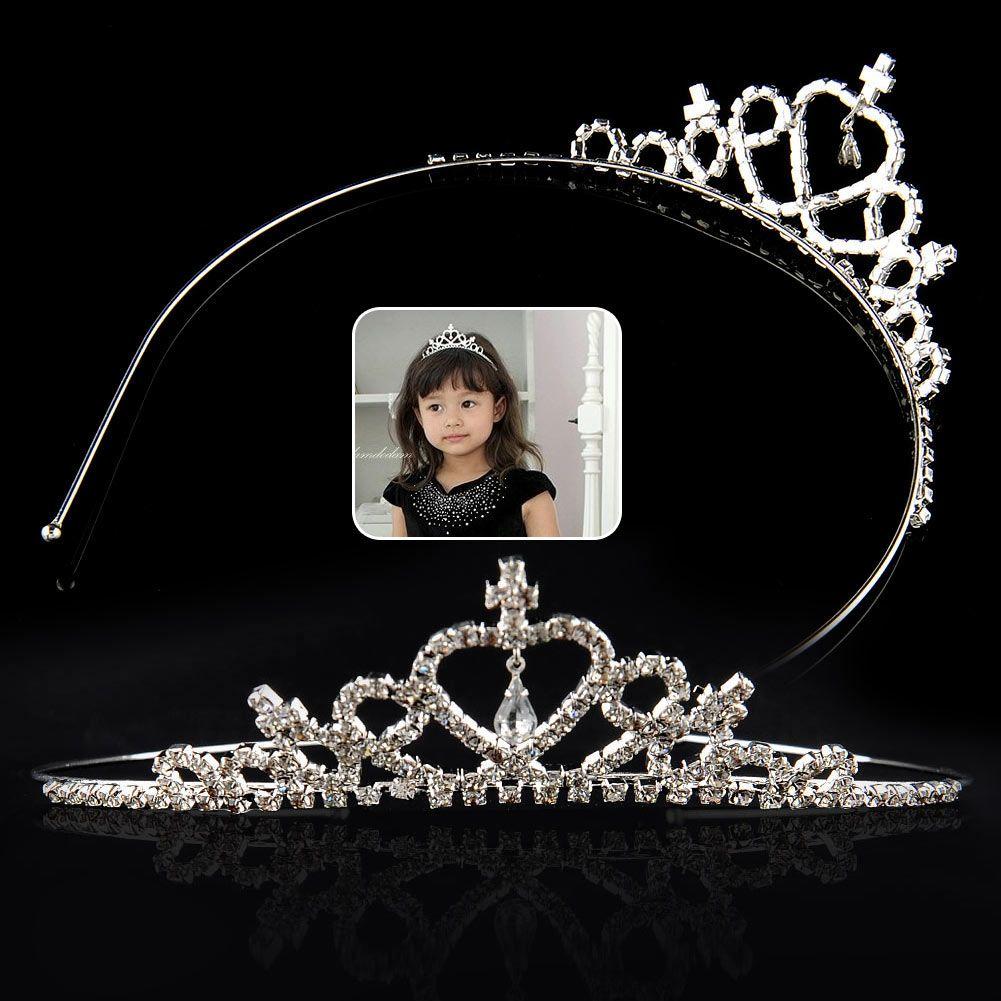 Ragazze dei capretti di scintillio Rhinestone scintillio della principessa Crown Tiara fascia dei capelli banda Flower Girl compleanno di cerimonia nuziale di sera del partito