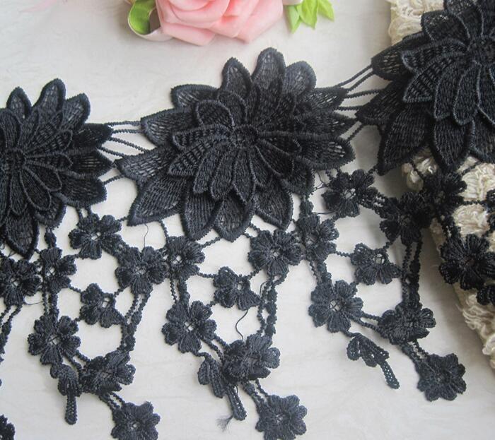 15Yard White/Black Flower Tassel Cotton Lace Fabric Trim Ribbon For Apparel Sewing DIY Bridal wedding Doll Cap Hair clip