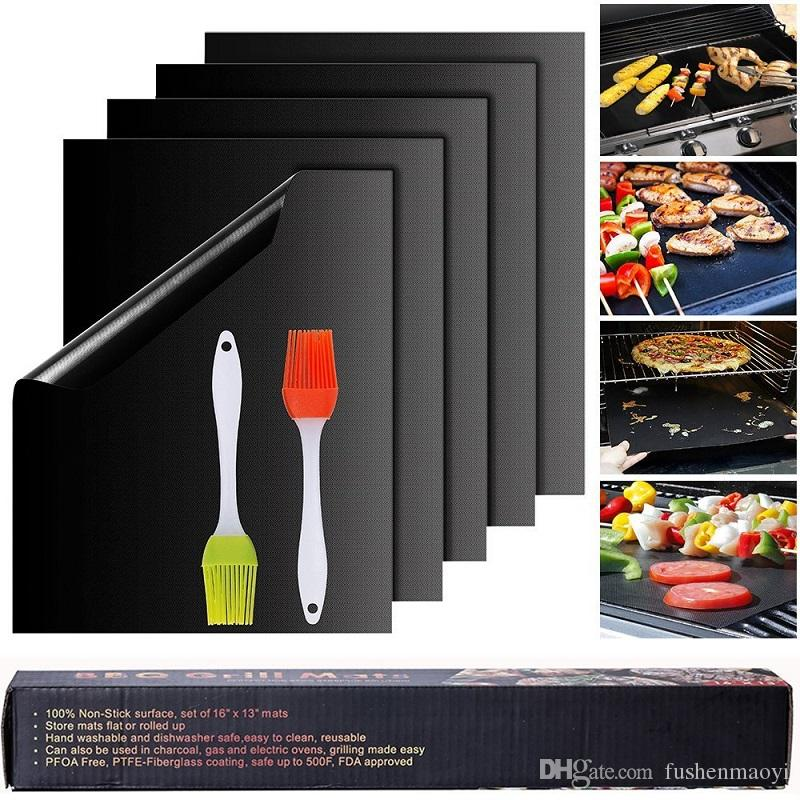 Grill Mats Reusable and Easy to Clean Best BBQ Barbecue Grill Pad Mats Works With Gas Electric Charcoal Grills FDA-Approved PFOA Free