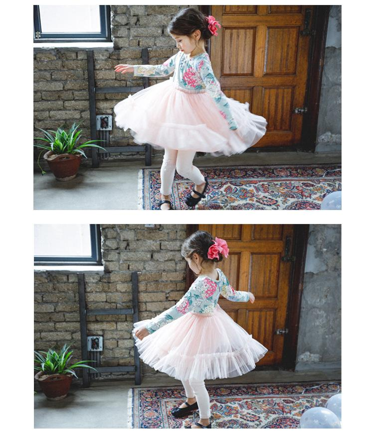 Everweekend Girls Princess Floral Print Tutu Party Dress Long Sleeve Autumn Candy Color Sweet Children Holiday Christmas Dress