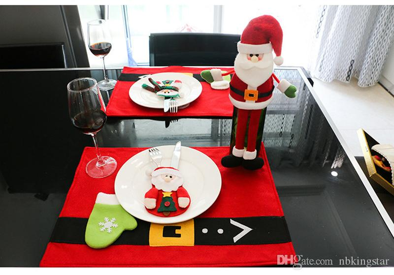 Dinnerware Set Non-woven Chirstmas Knife Forks Cutlery Bag Table Xmas Decoration Cutlery Set Santa Tableware Cover