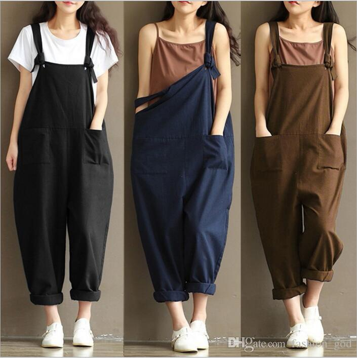 ff5fb9419f2 2019 Loose Casual Jumpsuit Women Plus Size Overalls Fashion Playsuits Long Pants  Romper Office Suspenders Bodysuit Trousers Womens Clothing B2657 From ...