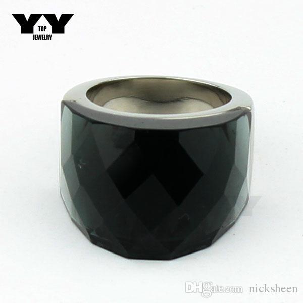 2016 Mais Recente moda Exagerada Anéis de cristal Big em cor cinza escuro feito à mão de polimento de luxo 100% anel de aço Inoxidável 316L para as mulheres