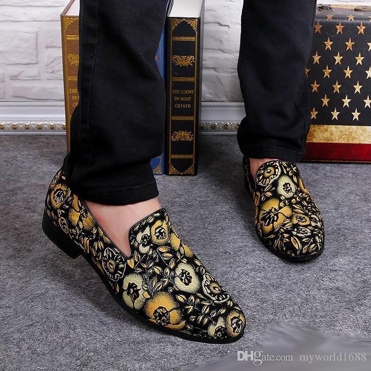 Горячие Продажи Мужская Модельер Черные Нубук Кожаные Туфли С Желтыми Цветами Скольжения На Бездельник Повседневная Обувь Для Человека