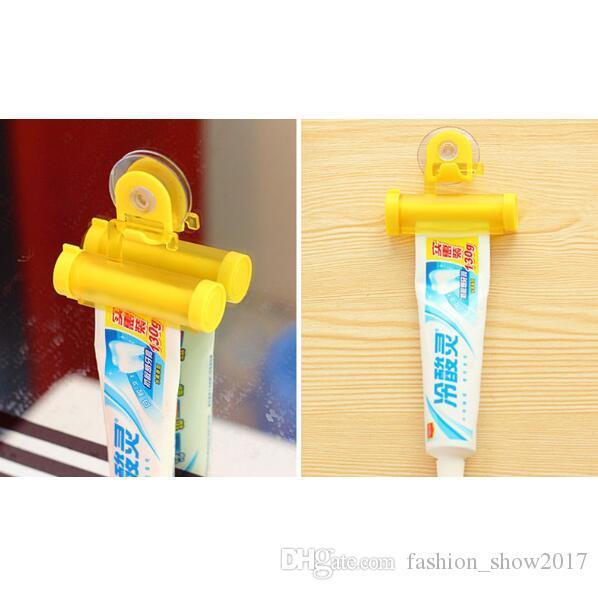 새로운 컬러 플라스틱 튜브 5 색 압연 치약 압착기 디스펜서 후크 홀더 벽걸이 교수형 욕실 벽