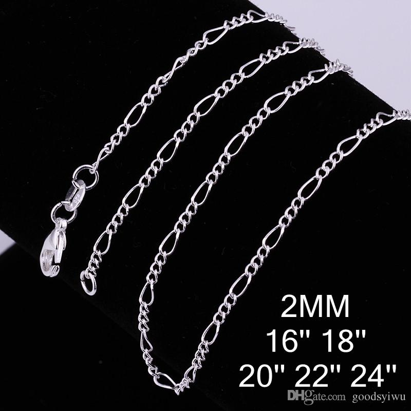 Fashion 925 Silver Chains Necklace 2mm 16/18/20/22/24 inch Figaro Chains Beautiful DIY Jewelry C013