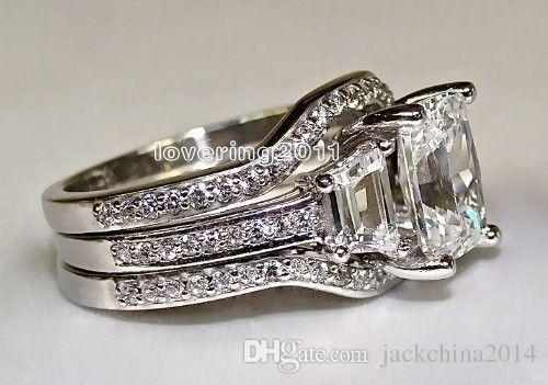 SZ5-11 Frete grátis Moda jóias princesa corte 10kt ouro branco cheio GF topázio branco CZ Simulado Diamante Casamento Senhora mulheres anel set