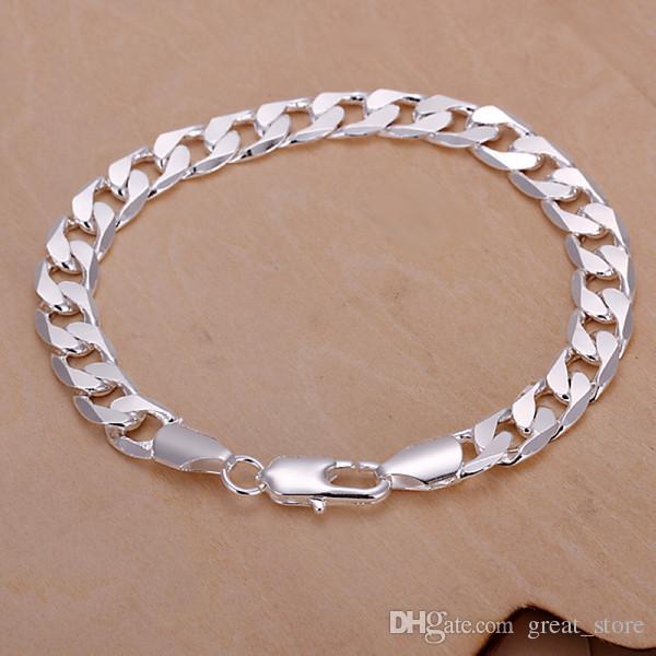 сбывания 8M плоского горячекатаного вбок мужской 925 серебряный браслет 20X0.8cm DFMWB246, серебро гальваническим браслет ювелирных изделий
