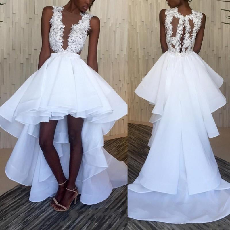 South Africa White High Low Prom Dresses 2016 Sheer Neck Lace Sleeveless Evening Gowns Chiffon Tiered Black Girls Formal Party Dresses