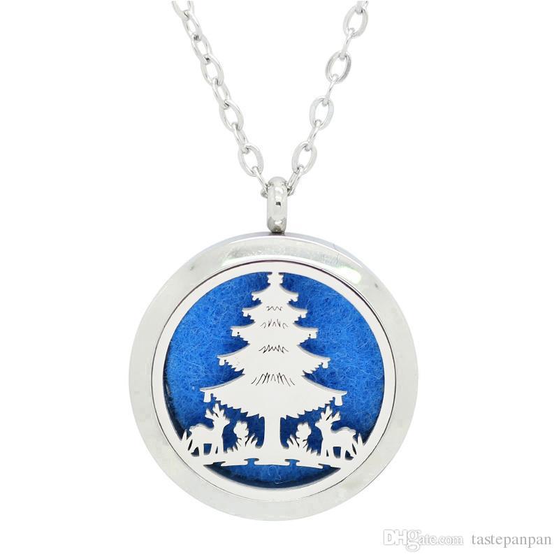 Aço Inoxidável 316L óleo difusor colar 30mm forma de Árvore de Natal perfume medalhão de prata mangetic aromaterapia pingente
