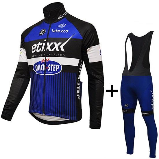 Зима флис тепловой велоспорт длинный Джерси ROPA CICLISMO+нагрудник брюки 2016 QUICK STEP PRO TEAM синий 3D гель PAD-PICK размер:XS-4XL G33