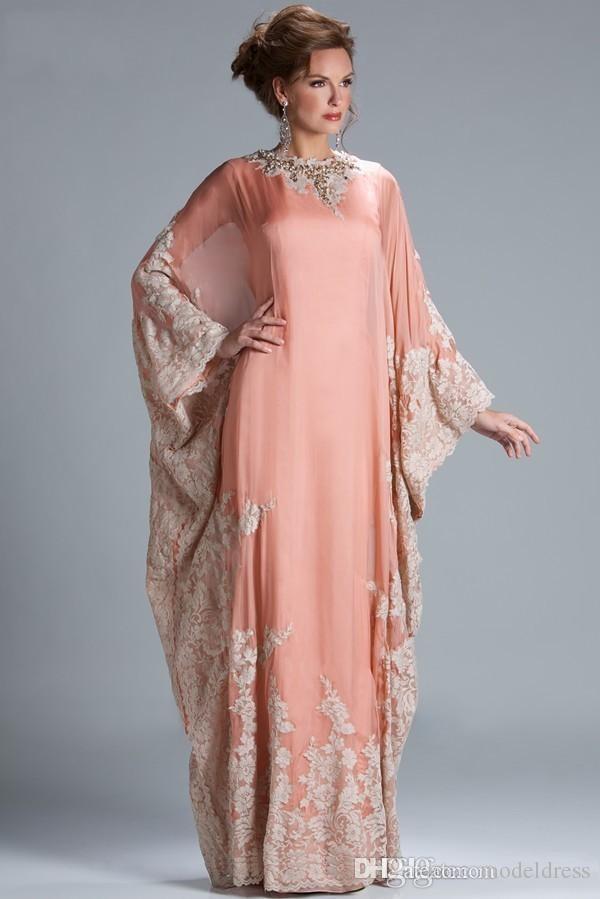 2019 il nuovo chiffon caftano Dubai Arabian sera a maniche lunghe in pizzo Appliques Equipaggiata Madre musulmana degli abiti da sposa più il formato