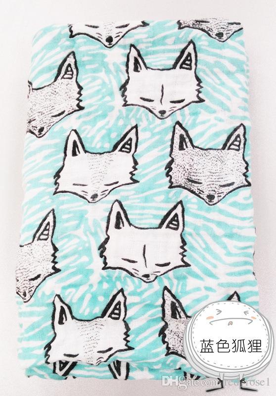 Mais recente 2020 Algodão Muslin Swaddle Enrole 18 estilos com caixa cartoon panda raposa impressão Blanket recém-nascido de gavetas 120x120cm Toalha