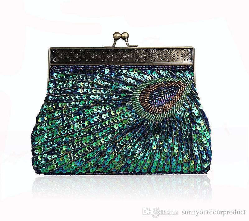 New Fashion Vintage Peacock Handmade Beaded Women Evening Bag Lady Sequins Handbag With Handle Luxury Clutch Wallet Purse For Wedding Party