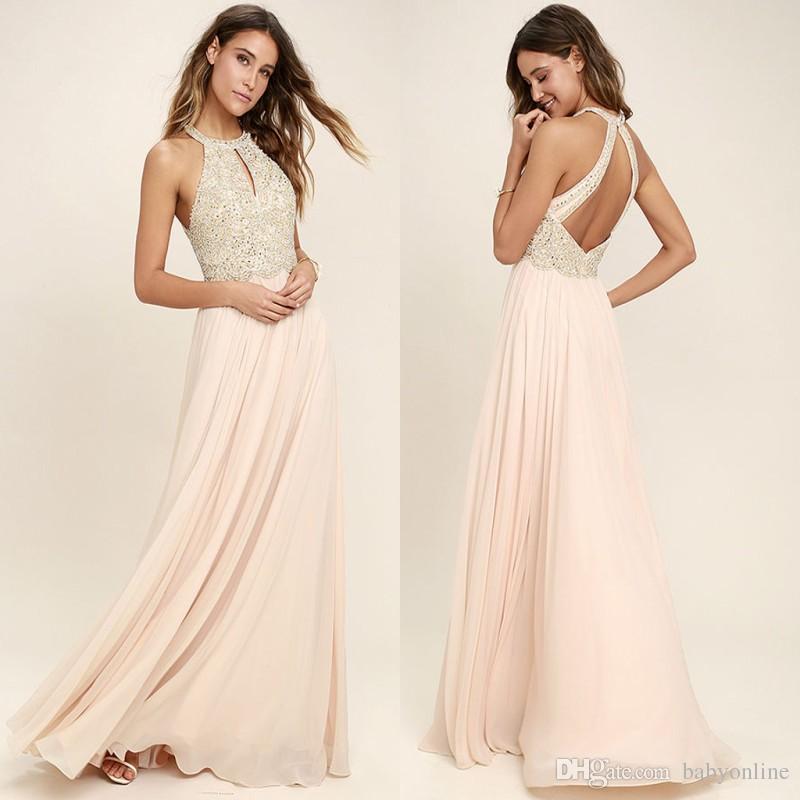 932851524b6dc1 Großhandel Moderne Blush Pink Chiffon Brautjungfernkleider 2018 Neckholder  Eine Linie Backless Lange Falten Sommer Hochzeitsgast Party Abendkleider ...