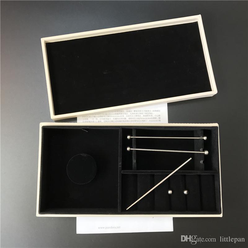 Two Different Jewelry Box Black Velvet Inside European Style for Pandora Charm Bead Bracelet Dangle Pendant Earrings Ring