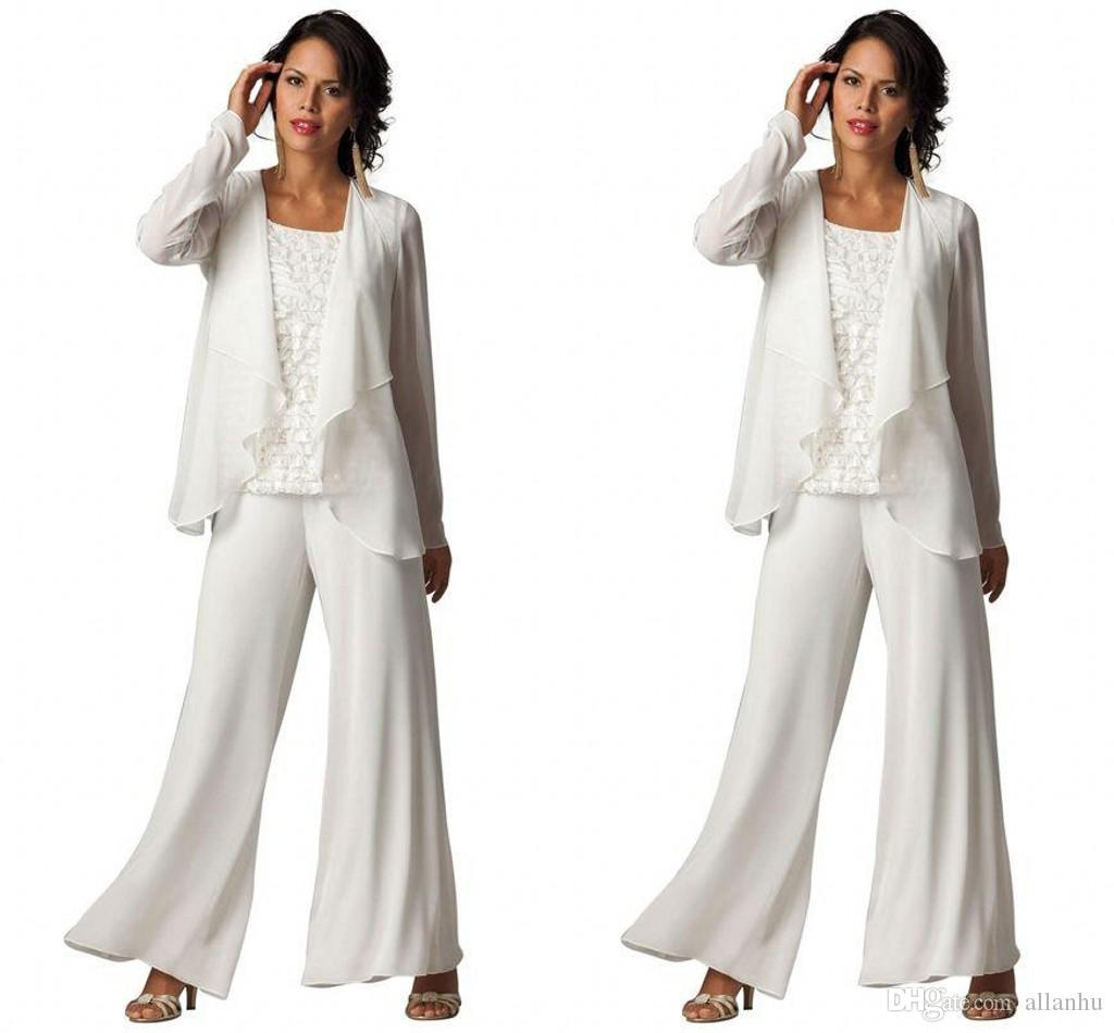 New Fashion Cheap Elegant Chiffon Plus Size Three-Piece Tiered Ruffled Pant Suits Women's Long Sleeve Formal Evening Mother Pant Suits