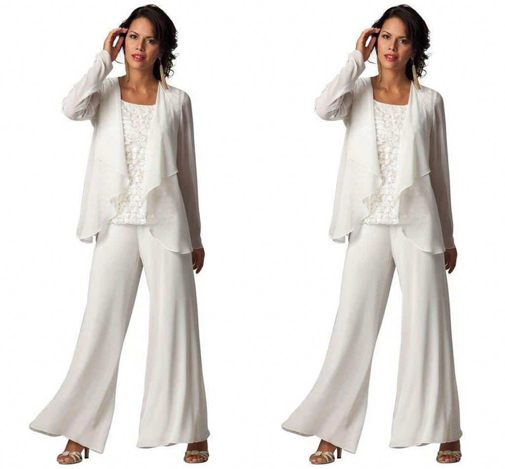 Nueva moda barata elegante de gasa más el tamaño de tres piezas con gradas volantes trajes de manga larga de las mujeres de noche formal trajes de bragas de madre