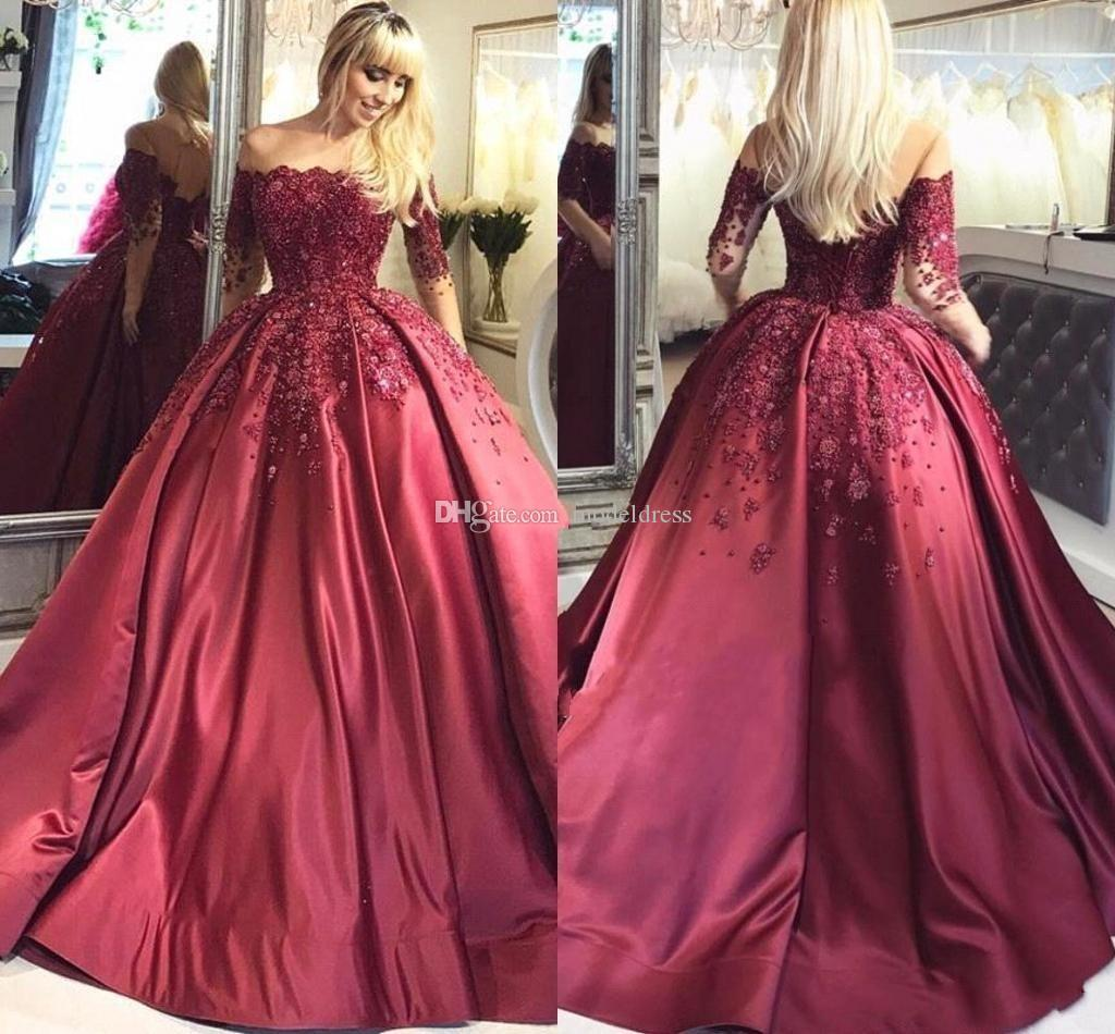 57ee3767d73 New Burgundy Long Sleeves Quinceanera Dresses 2017 Sheer Neck Beaded  Apploques Ball Gown 16 Sweet Girls Prom Party Special Occasion Gowns Formal  Dress Shops ...
