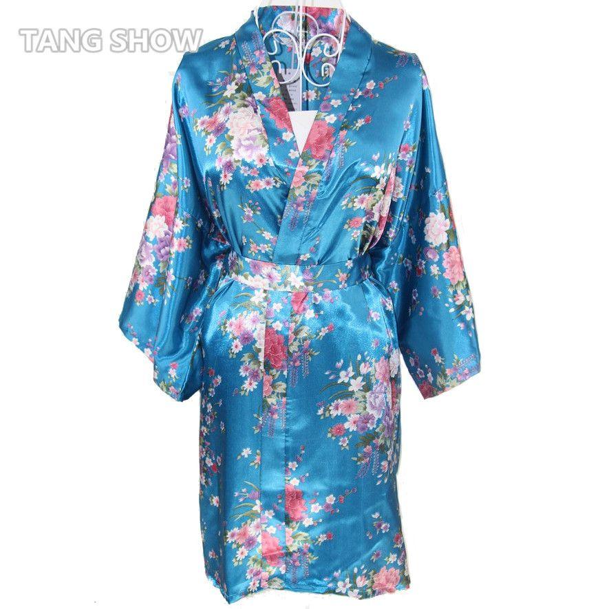 Wholesale New Print Floral Women S Satin Robe Sexy Lounge Bathrobe  Nightgown Vintage Kimono Yukata Bridesmaid Wedding Dressing Gown Canada 2018  From ... d28647137