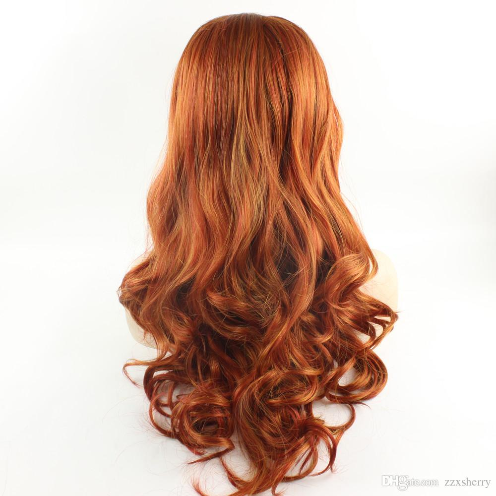 Long Wavy Reddish Blonde Hand Tied Synthetic Hair Natural Lace Front Wig