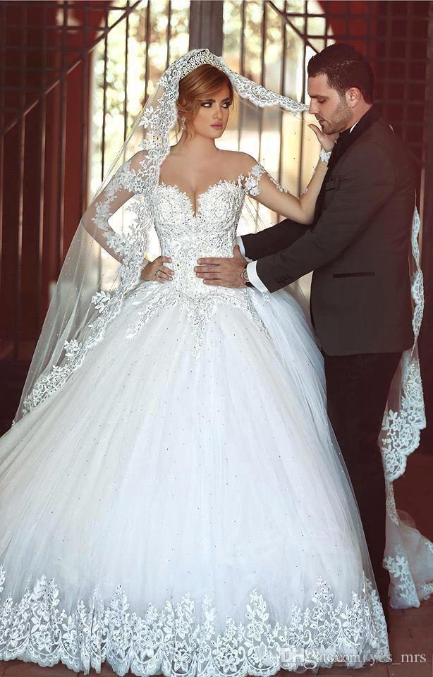 2019 Pas Cher Robe De Bal Robes De Mariée Chérie Manches Longues Sheer Tulle Arabe Longue Dentelle Perlé Sheer Dos Plus La Taille Formelle Robes De Mariée