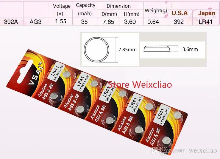 100 sztuk 1 partia AG3 LR41 192 384 392 392a SR41 L736 1.55 V Alkaline Button Cell Battery Baterie Monety Vsai Darmowa Wysyłka