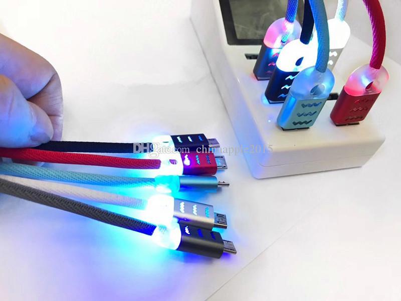 Gewebe-Tuch führte helles Licht-Legierungs-Kabel 1m 3ft schnelles Ladegerät Mikrousb-Kabel für Samsung s6 s7 Randanmerkung 2 4 htc lg androides Telefon 6 7 8