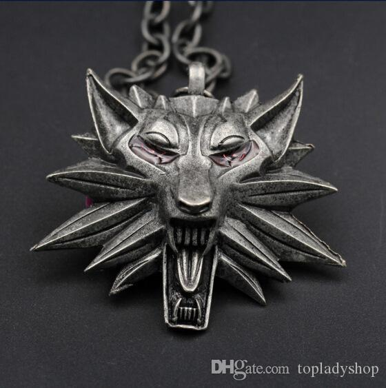 the witcher 3 witch 3 wolf head necklace necklace الجملة الحرة الشحن