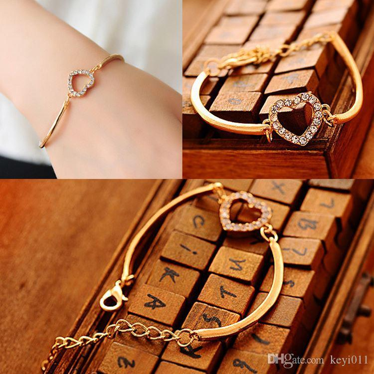 Cute Lady Love Heart Rhinestone Hand Chain Link Bracelet Bangle ...